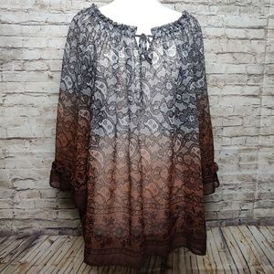 Maggie Barnes |Sheer Ombre Blouse Plus Size| 1X